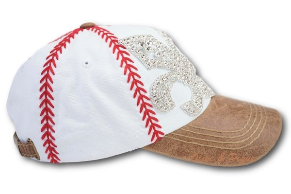 Olive   Pique Rhinestone Bling Fleur de Lis Baseball Stitch Hat cb5240dff01