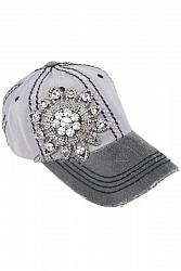 #HT-9960 Olive & Pique Glitz Deco Two Tone Gray and Black Baseball Hat
