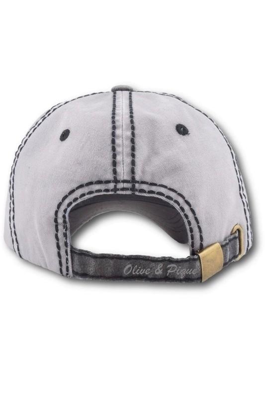 Olive & Pique Glitz Deco Two Tone Gray and Black Baseball Hat
