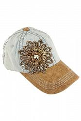 Olive & Pique Bella Glitz Two Tone Baseball Cap - Light Denim