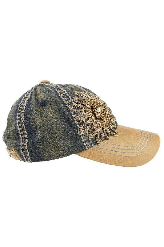 Olive & Pique Bella Glitz Two Tone Baseball Cap - Dark Denim