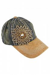#HT-1411 Olive & Pique Bella Glitz Two Tone Baseball Cap - Dark Denim