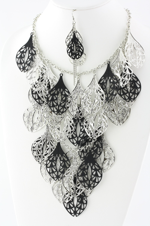 It's a Party Multi Row Necklace - Silver & Black