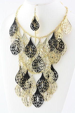 It's a Party Multi Row Necklace - Gold & Black