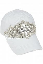 #HT-6931 Glitz Deconstructed Distressed Baseball by Olive & Pique - White