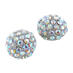 Silver and Aurora Borealis Crystal Studded Post Earrings