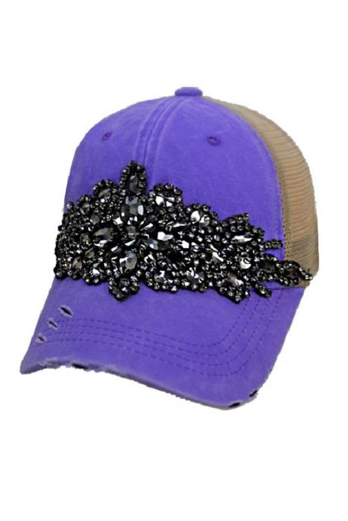 Floral Crystal Rhinestone Embellished Bling Trucker Style Hat - Purple