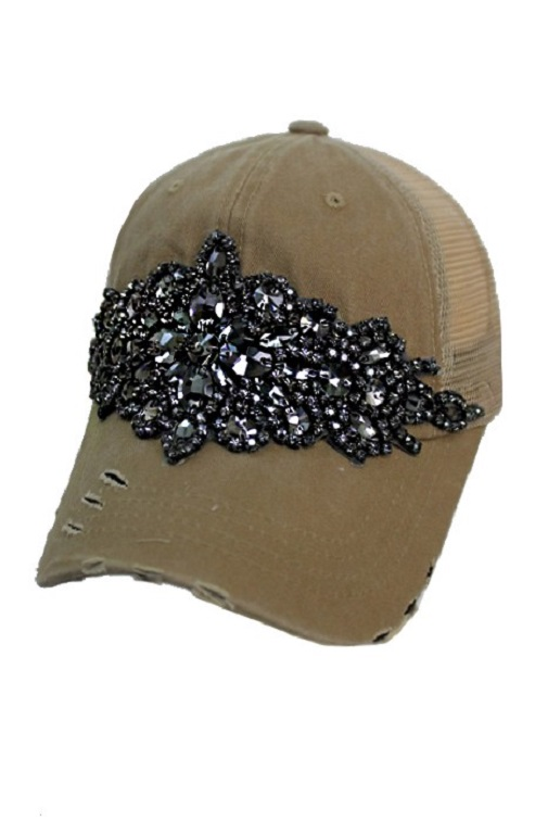 Floral Crystal Rhinestone Embellished Bling Trucker Style Hat - Khaki
