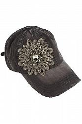 #HT-2630 Bella Glitz Distressed Baseball Cap