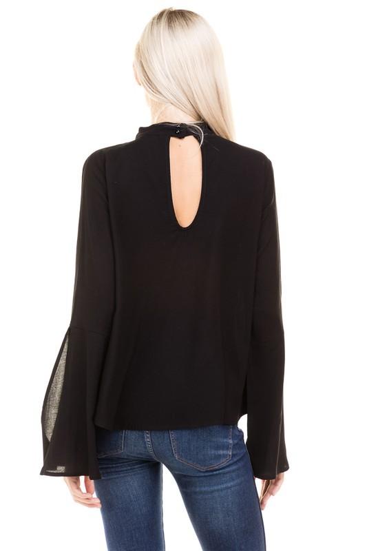 Bell Sleeve Top Solid Choker Neck Blouse Shirt Top - Black