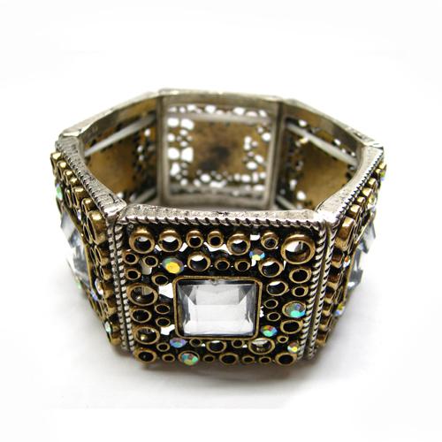 Fashion Square Rhinestone Bronze Stretch Bracelet