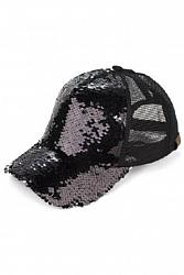 Sequin Ponytail Baseball Hat - Black