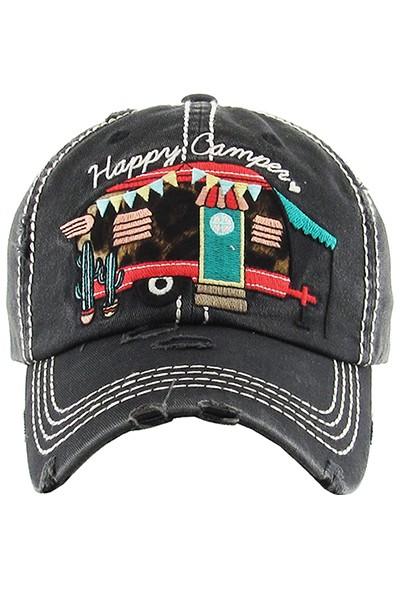 Happy Camper Baseball Hat - Black