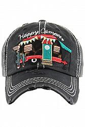 Happy Camper Baseball Hat - Black