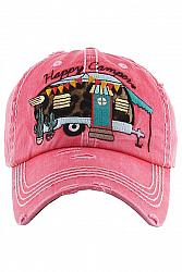 Happy Camper Baseball Hat - Hot Pink