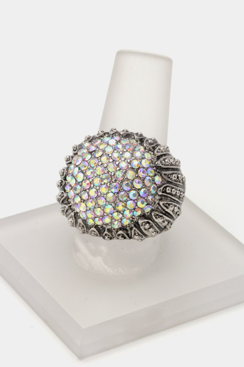 Textured Metal with Crystal Stretch Ring
