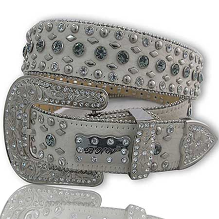 White/Smoke Leather Rhinestone Belt