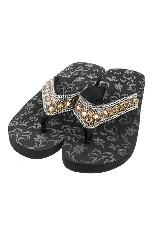 "Brown Rhinestone 1"" Wedge Flip Flops"