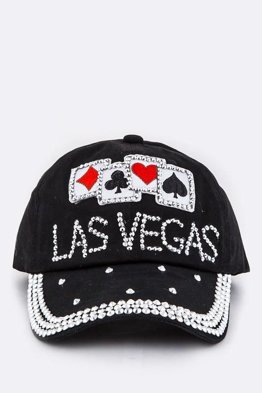Las Vegas Crystal Bling Patched Denim Cap