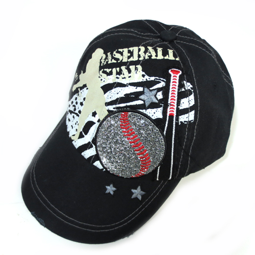 Baseball Star Black Baseball Distress Hat