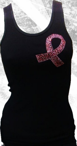 Pink Ribbon Rhinestone Tank Top by Olive & Pique
