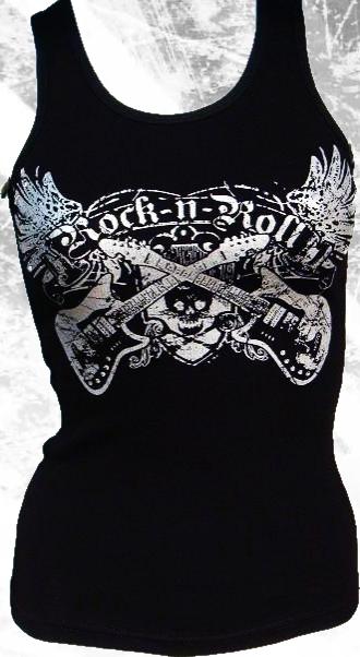 """""""rock n roll"""" w/ rhinestone embellishments tank by Olive & Pique"""