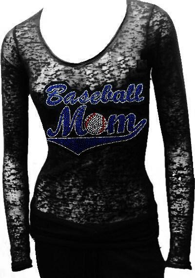 Burn Out Long Sleeve rhinestone - BASEBALL MOM