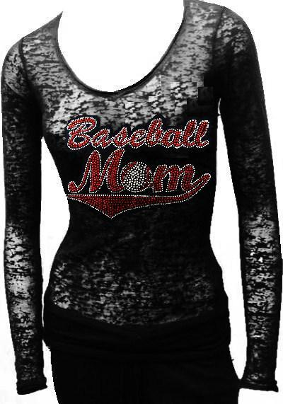 Burn Out Long Sleeve Rhinestone -  RED BASEBALL MOM