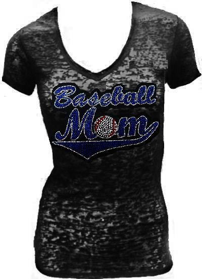 Burn Out Short Sleeve rhinestone - BASEBALL MOM