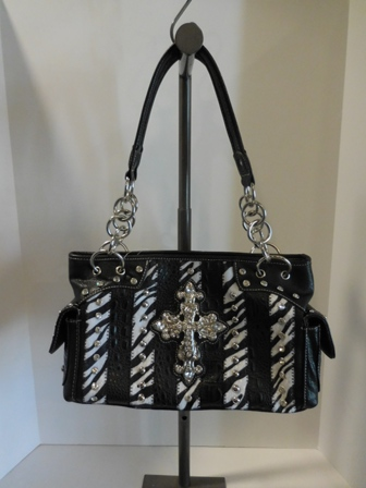 Rhinestone Cross Zebra Patchwork Handbag