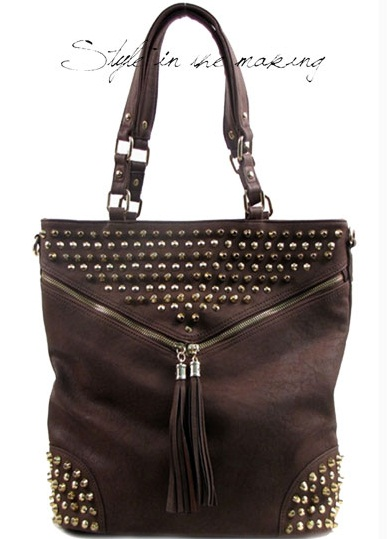 Vieta Gold Studded Handbag - Brown