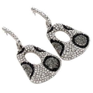 Dangling Silver Leopard Crystal Post Earrings