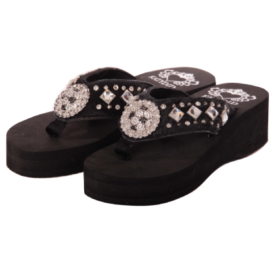 Black Horse Hair SOCCER WEDGE Flip Flop