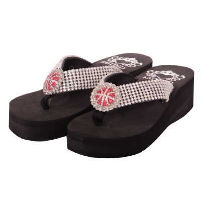 RHINESTONE BASKETBALL WEDGE Flip Flop