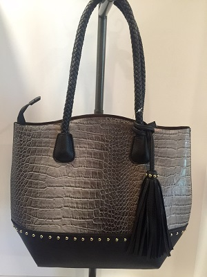 Elegant Croc Skin Print With Studs Trimmed And Tassel Accessory