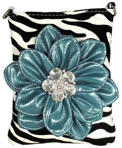 Flocked Zebra Flower Cross-Bag - Blue