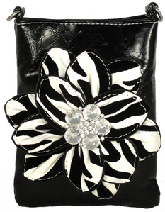 Flocked Zebra Flower Cross-Bag