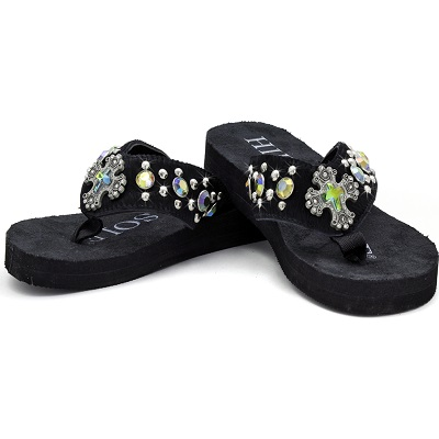 HIDE N SOLE Cross AB Stones Flip Flops