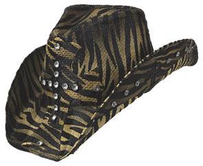 Zebra Print Rhinestone Cross Cowboy Hat