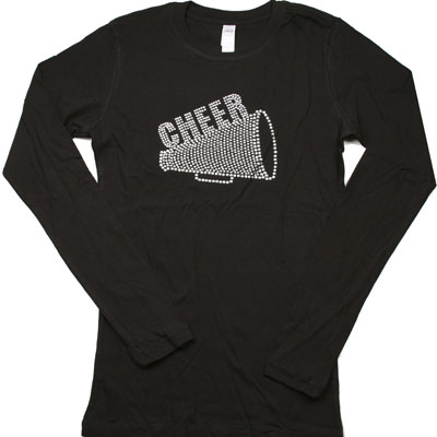 Black L/S Women's T Shirt - CHEER/MEGAPHONE