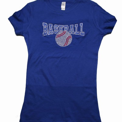 Royal Blue Rhinestone Baseball Tee