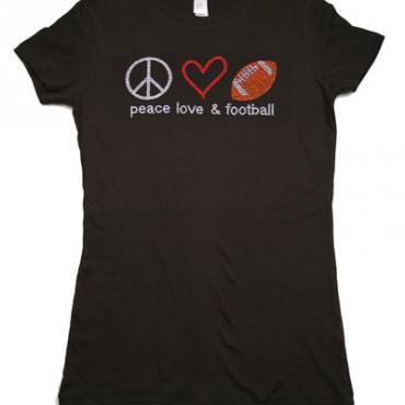 Peace, Love, FOOTBALL Rhinestone T-SHIRT