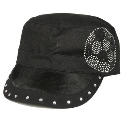 BLACK Hair on Bill/Rhinestone CADET CAP - Soccer