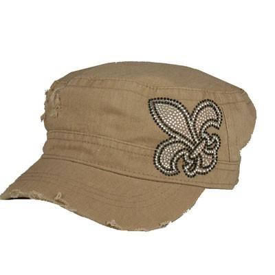 Tan CADET CAP with Rhinestones - Iridescent Fleur de lis