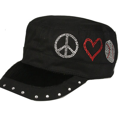 Peace Love and Baseball Rhinestone Cadet Hat