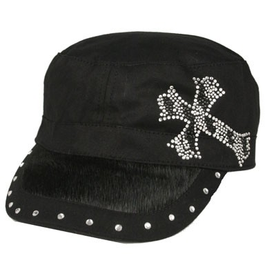 BLACK Hair on Bill/Rhinestone CADET CAP with Zebra Cross