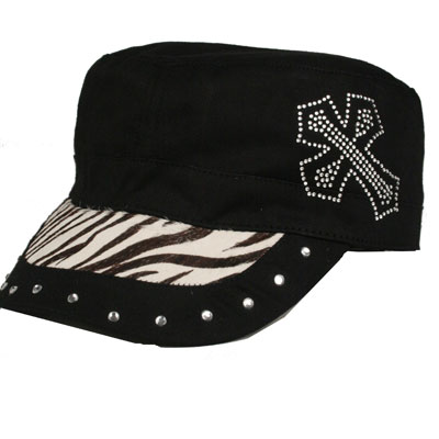 Zebra Studded Cross Cap