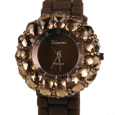 Fancy Rhinestone Jelly Watch - Brown