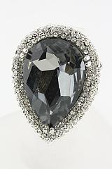 Tear Drop Crystal Stretch Ring