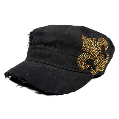 Gold Rhinestone Fleur de Lis Cadet Cap